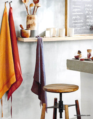 Roost Washed Linen Chefs Towels / Aprons with 2 Subtle Claret Stripes