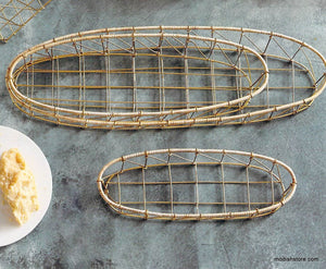 Roost Gio Brass Wire & Rattan Baskets - Set Of 3