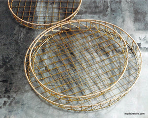Roost Gio Brass Wire & Rattan Baskets - Round - Set of 3