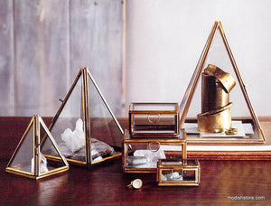 Roost Brass Pyramid Display Boxes - Small - Set Of 3