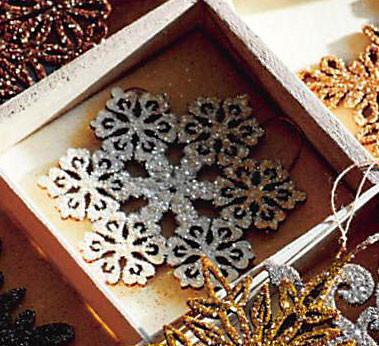 Roost Shimmering Snowflake Ornaments