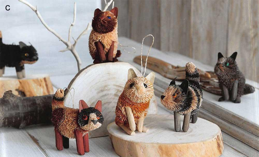 Roost Brushy Kitty Ornaments - Set Of 12