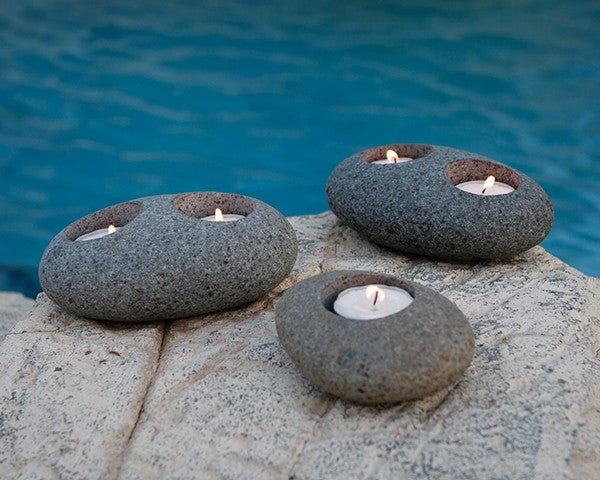 Natural Beach Pebble T-Light Holders Set of 12