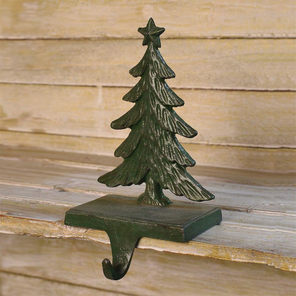 HomArt Christmas Tree Cast Iron Stocking Holder - Antique Green - Set of 4 - Feature Image