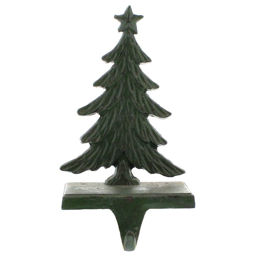 HomArt Christmas Tree Cast Iron Stocking Holder - Antique Green - Set of 4