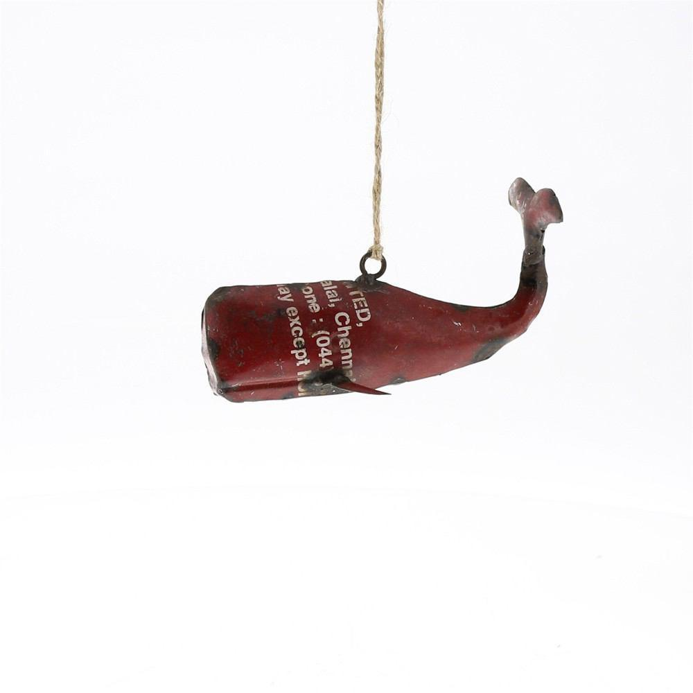 HomArt Reclaimed Metal Whale Ornament - Red - Set of 4