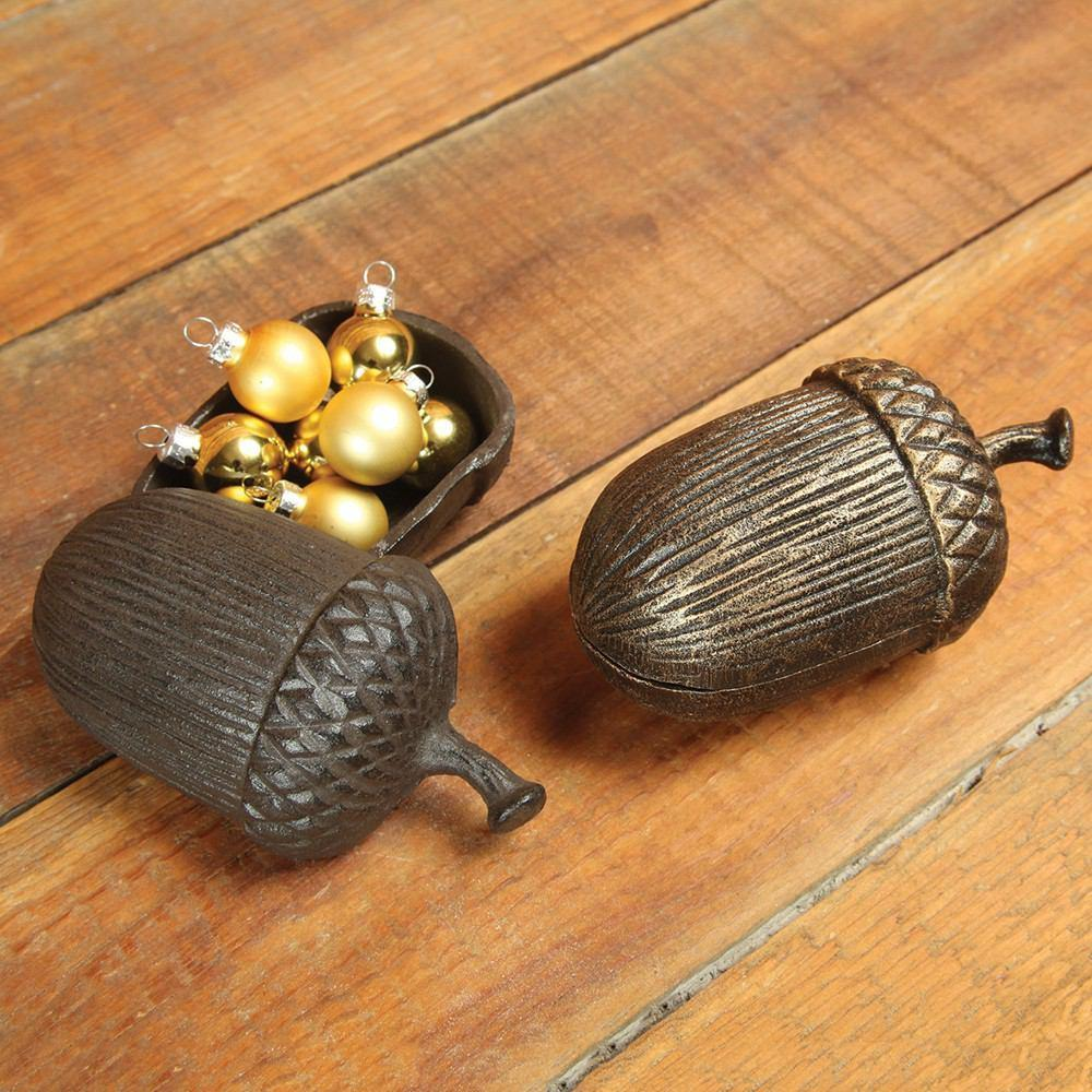 HomArt Acorn Box - Cast Iron - Brown - Set of 4