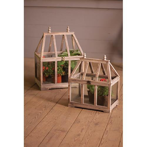 Kalalou Wood And Glass Terrariums - Set Of 2