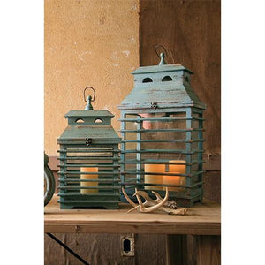 Kalalou Vintage Blue Shutter Lanterns - Set Of 2
