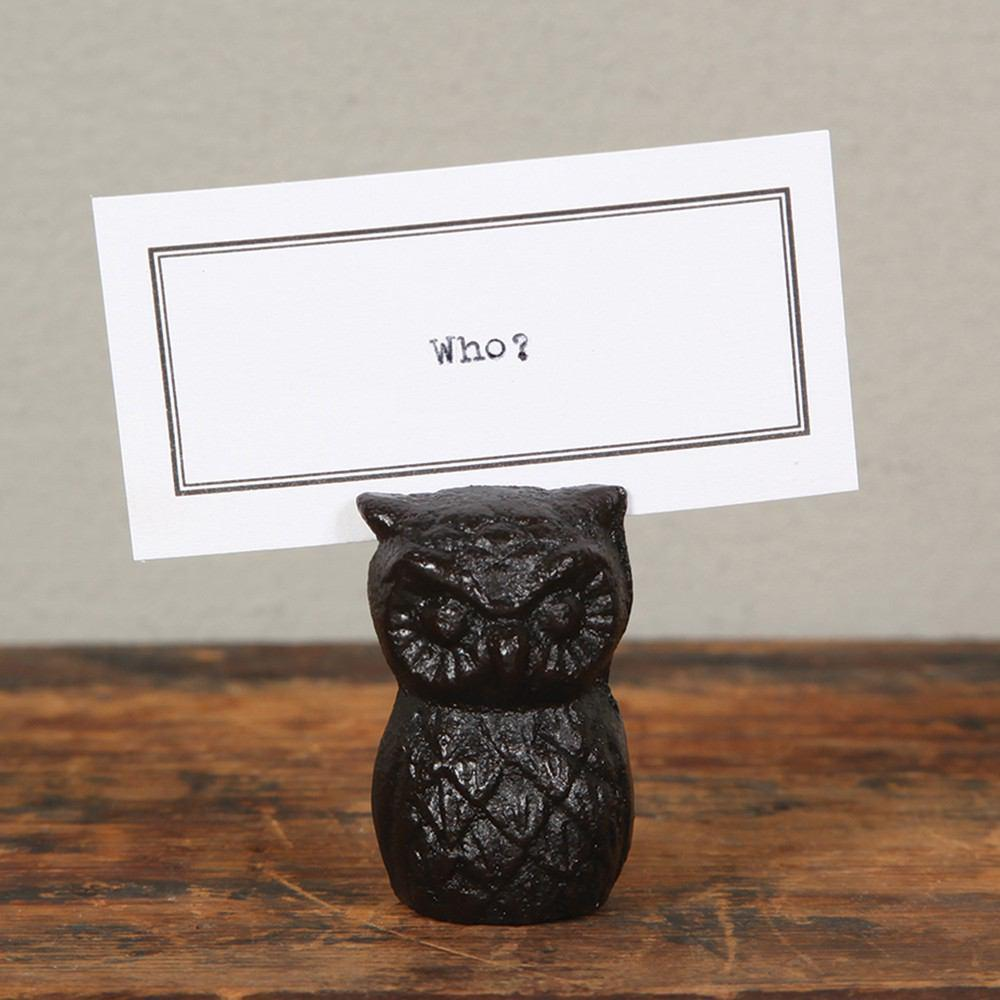 HomArt Owl Place Card Holder - Cast Iron - Antique Black - Set of 8