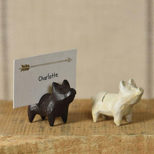 HomArt Pig Cast Iron Place Card Holder - Set of 12