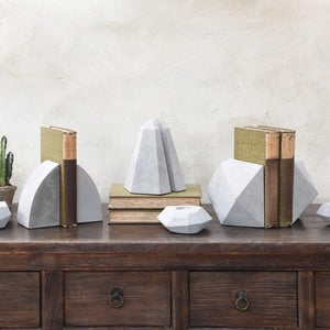 HomArt Geometric Cement Bookends - 2 Pairs