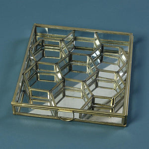 HomArt Monroe Honeycomb Divided Box - Brass - Set of 2