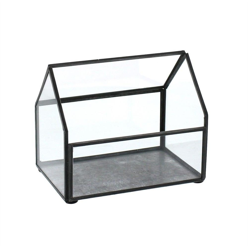 HomArt Pierre Cottage Glass Terrarium - Grey Antiq - Small