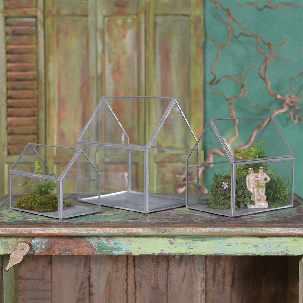 HomArt Pierre Cottage Glass Terrarium - Grey Antiq - Set of 2