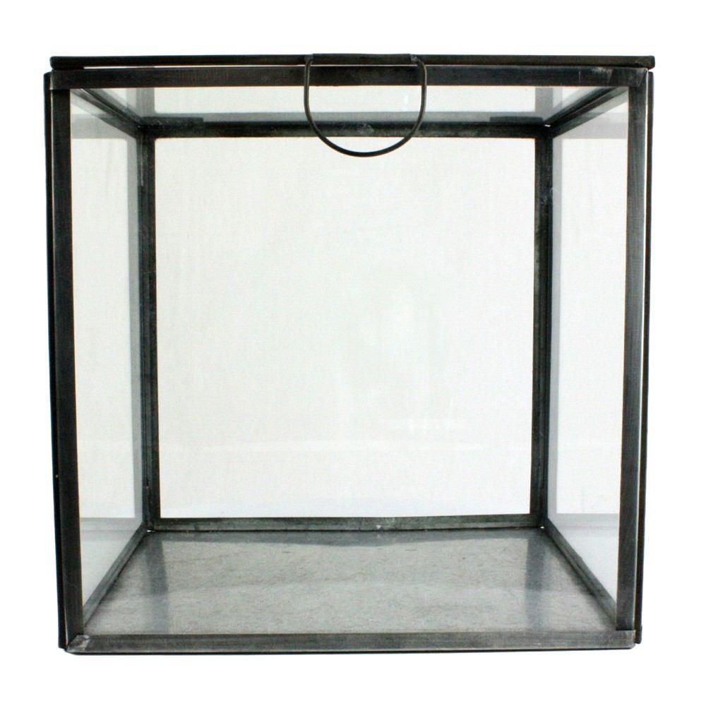 HomArt Pierre Leaded Glass Case - Square - Zinc