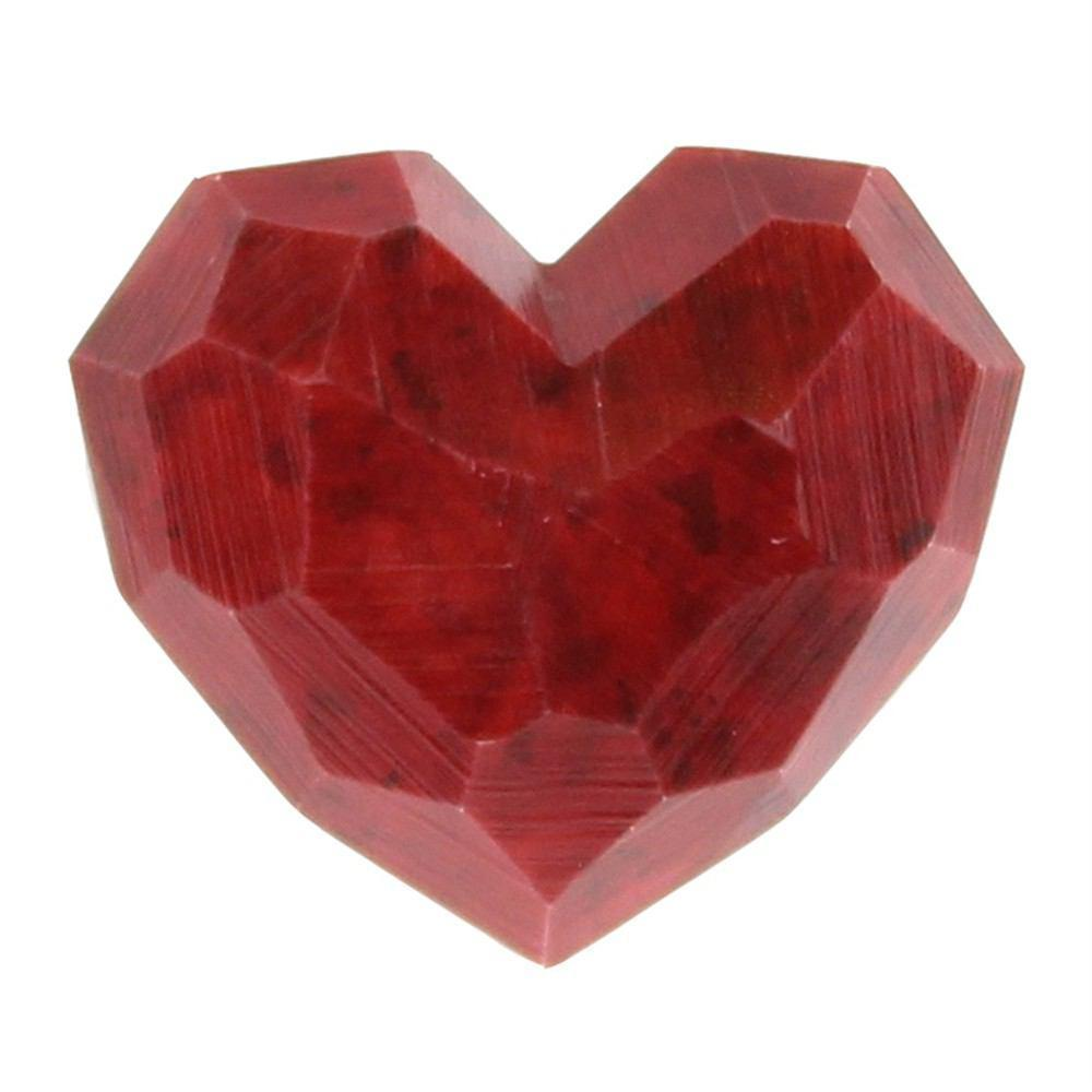 HomArt Faceted Soapstone Hearts - Red - Small - Set of 6