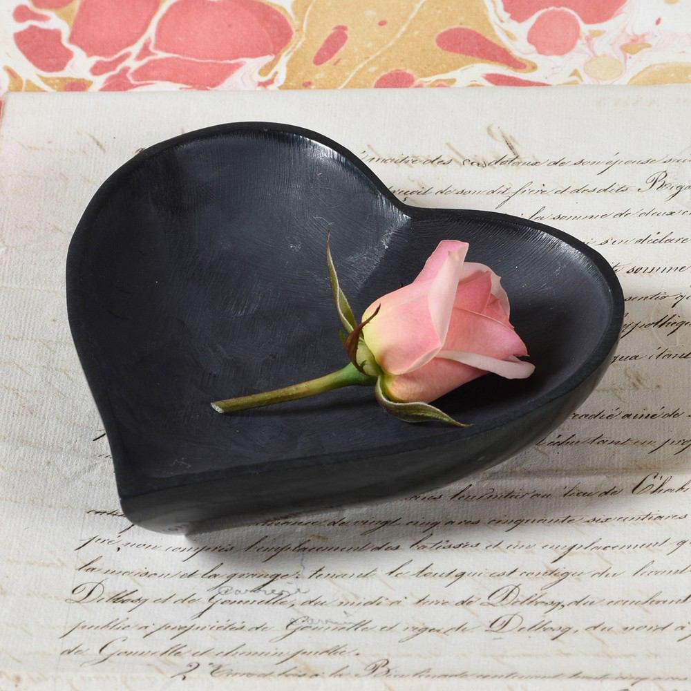 HomArt Soapstone Heart Bowl - Black - Set of 4
