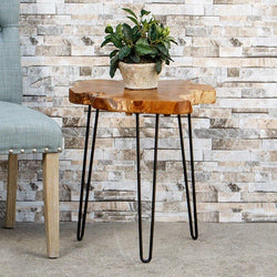 Teak Root Slab End Table