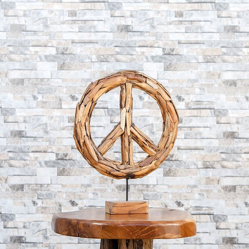Harini Driftwood Peace Symbol - Stand Set of 2