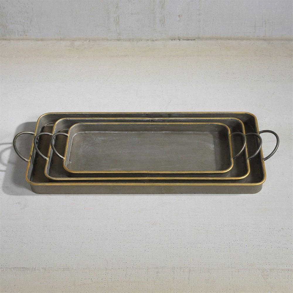 HomArt Archer Galvanized Trays - Set of 3 - Galvanized with Gold Rim - Feature Image