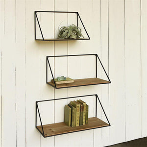 HomArt Hull Wood & Iron Shelf - Set Of 2