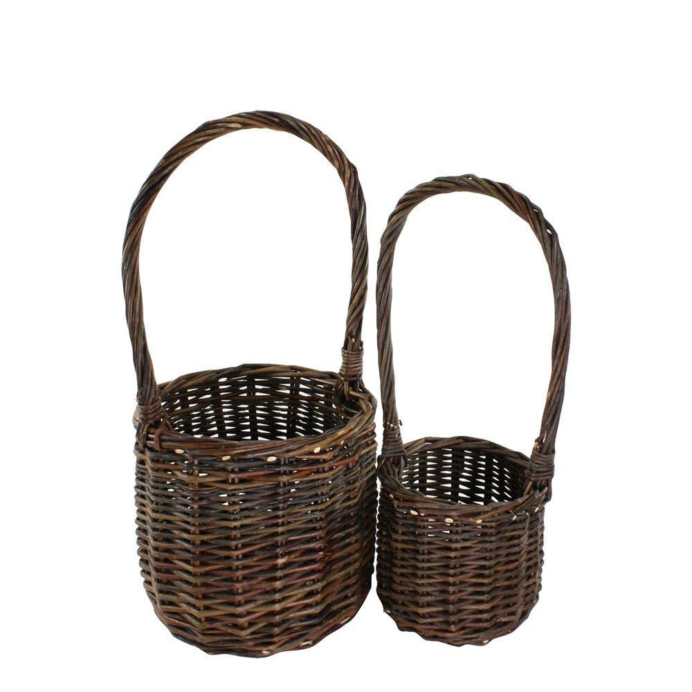HomArt Willow Baskets - Set of 2 - Natural - Tall Handled