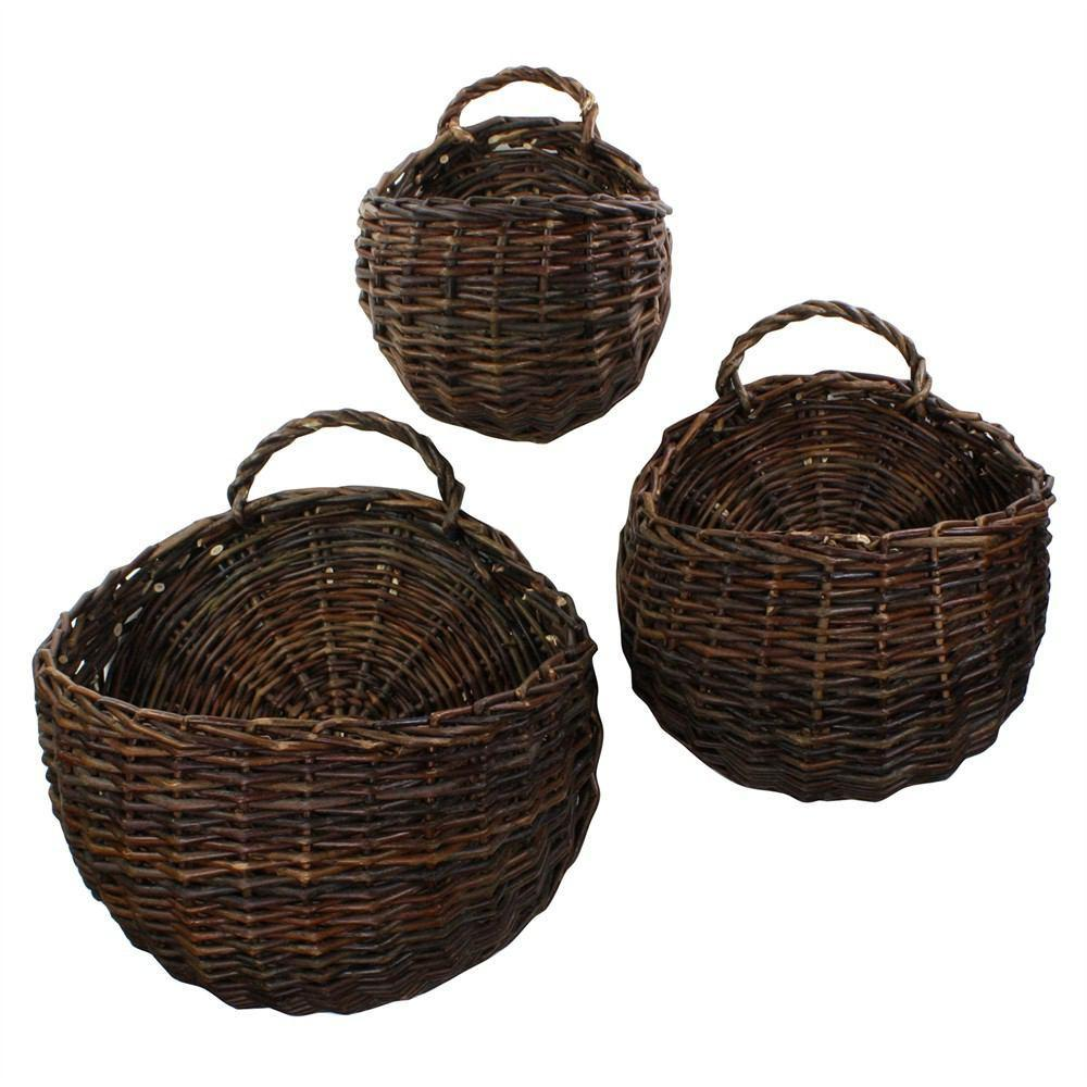 HomArt Willow Round Wall Baskets - Set of 3 - Natural