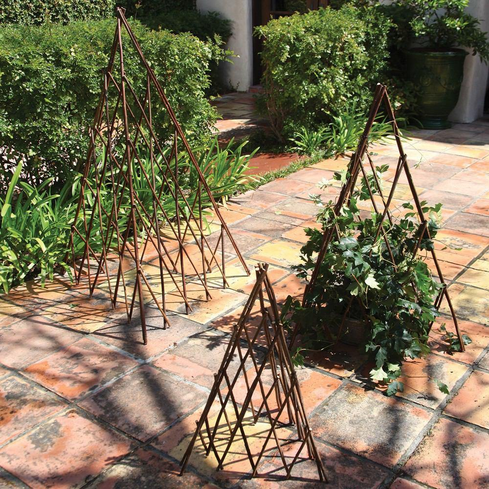 HomArt Pyramid Twig Trellis - Natural - Set of 4