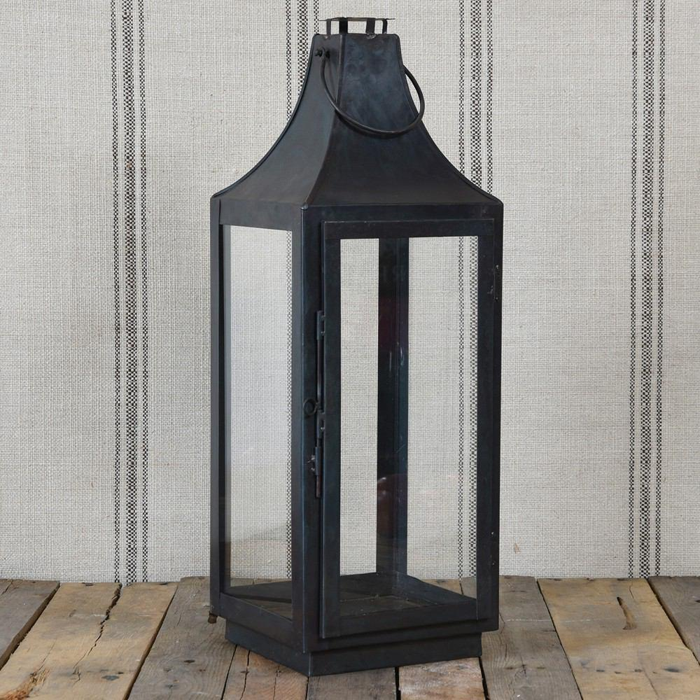 HomArt Cole Metal Lantern - Black Waxed