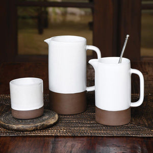 HomArt Liam Ceramic Pitcher - Unglazed Bottom - Partial Glaze - Set of 2
