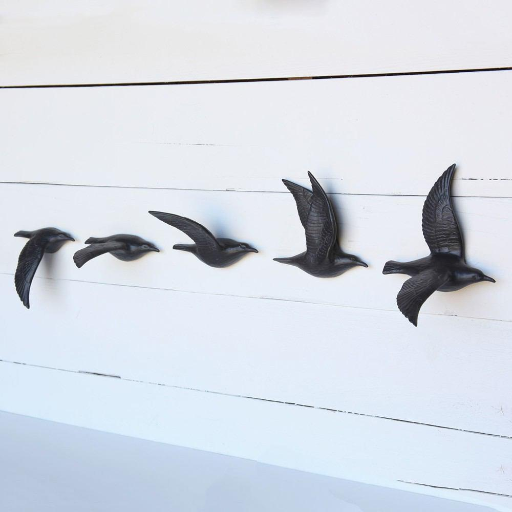 HomArt Flying Gulls - Bone China - Set of 5 - Assorted - Matte Black - Feature Image