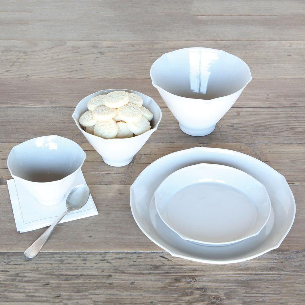 HomArt Cinq Ceramic Plate - Small - White - Set of 8