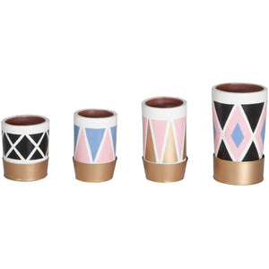 Kelly Pattern Pots - Set Of 4