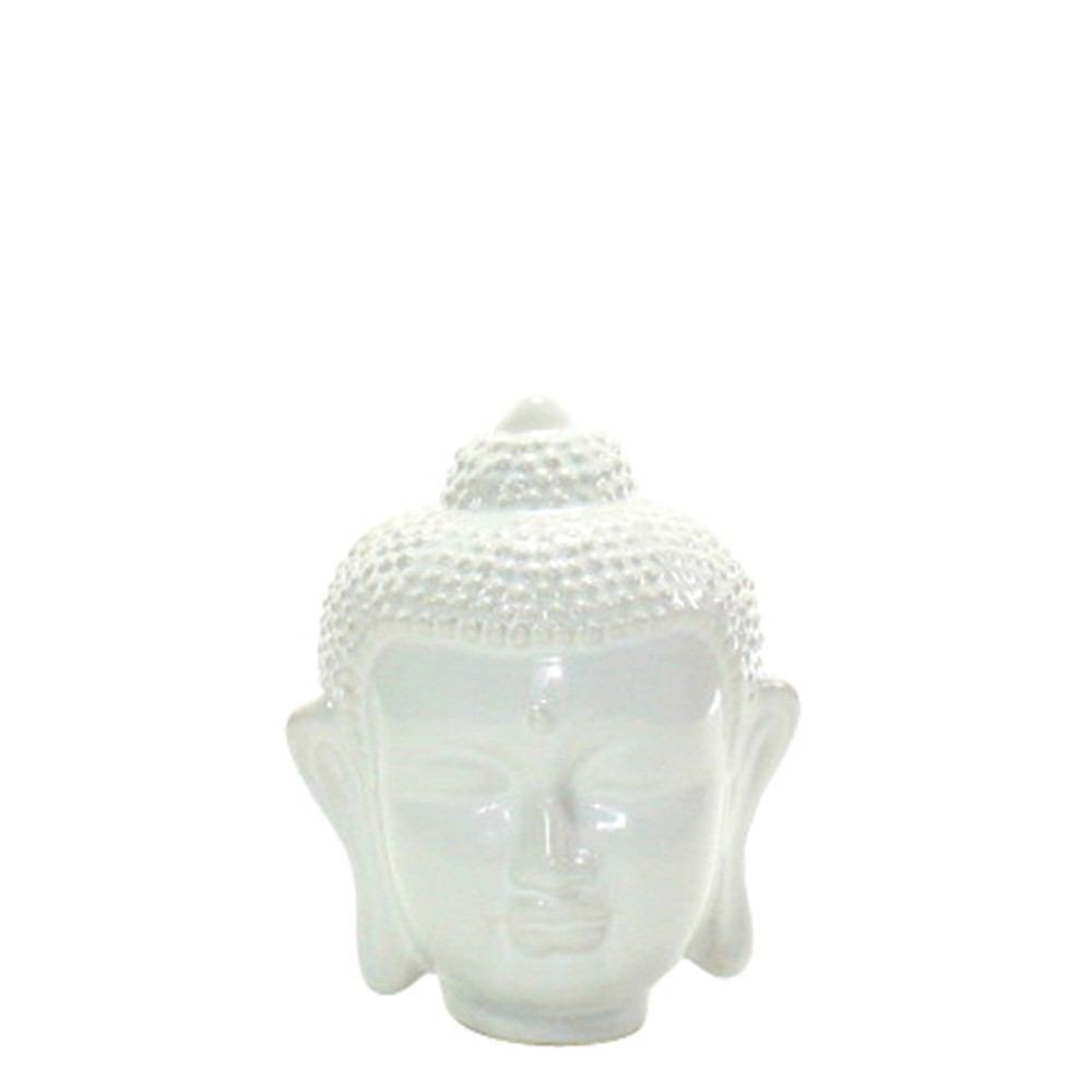 HomArt Ceramic Buddha Head - Small - Shiny White - Set of 8