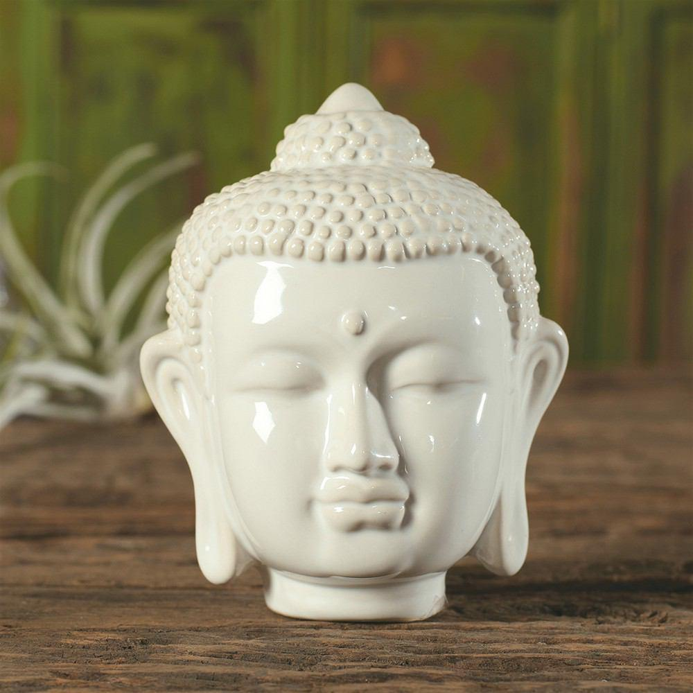 HomArt Ceramic Buddha Head - Small - Shiny White - Set of 8 - Feature Image