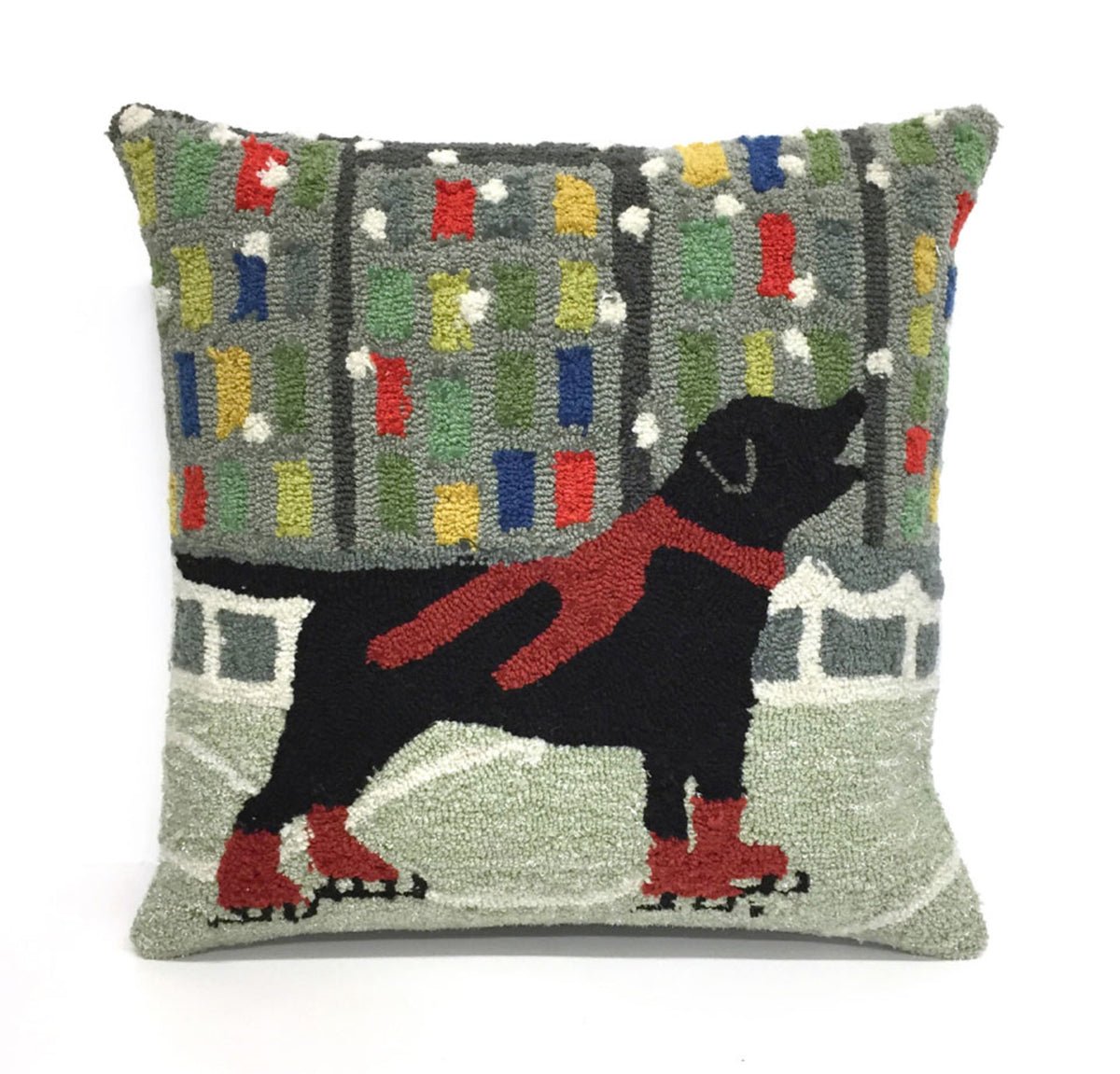Frontporch Holiday Ice Dog Red Pillows