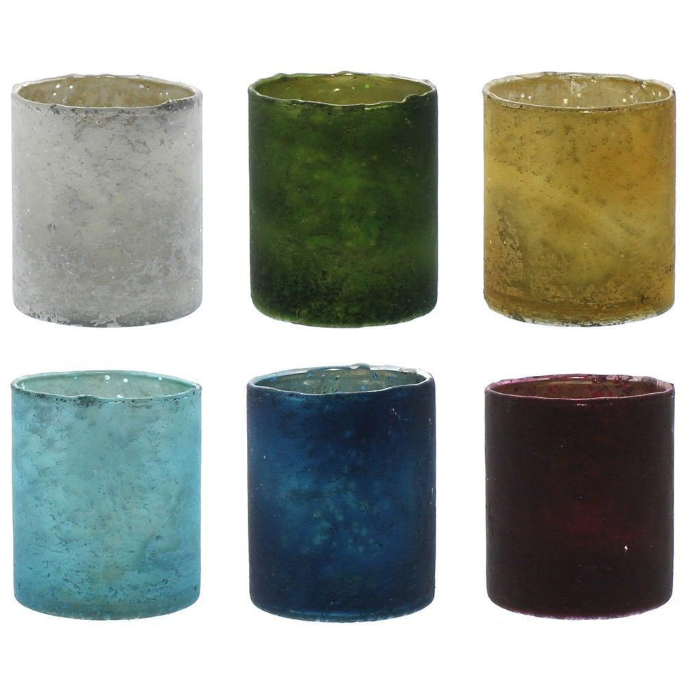 HomArt Glass Votive - Set of 6 - Assorted Colors - 6 colors - Assorted