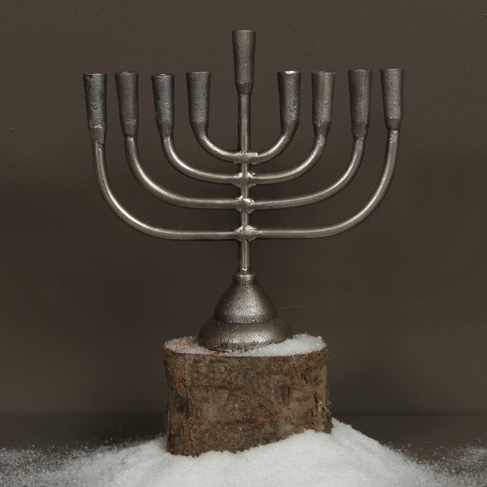 HomArt Menorah Cast Aluminum Candle Holder - Aluminum - Feature Image
