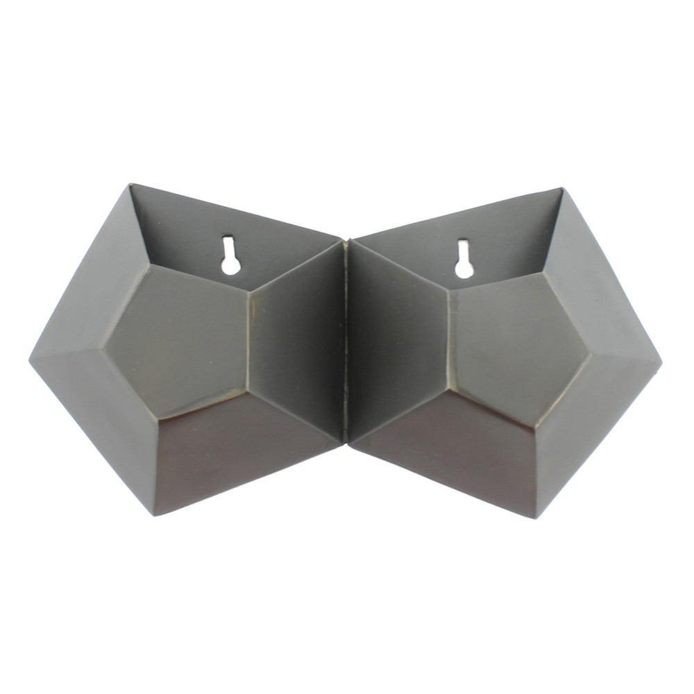 HomArt Hexagonal Iron Wall Vase - Double - Set of 2