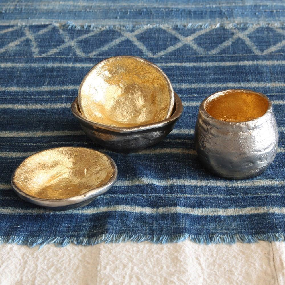 HomArt Strada Organic Cast Metal Bowl - Alum OUT - Gold IN - Set of 4