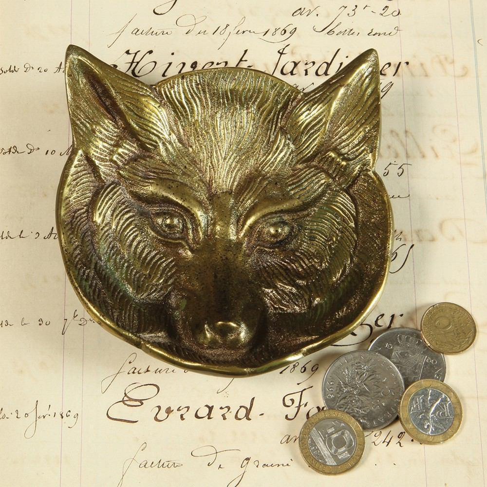 HomArt Fox Cast Metal Dish - Antique Brass - Set of 4 - Feature Image