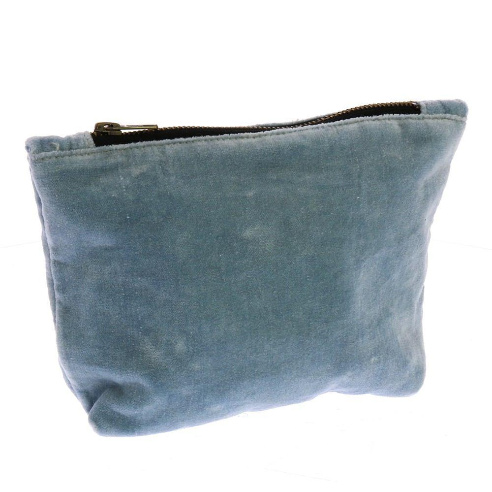 HomArt Velvet Zipper Pouch - Soft Blue