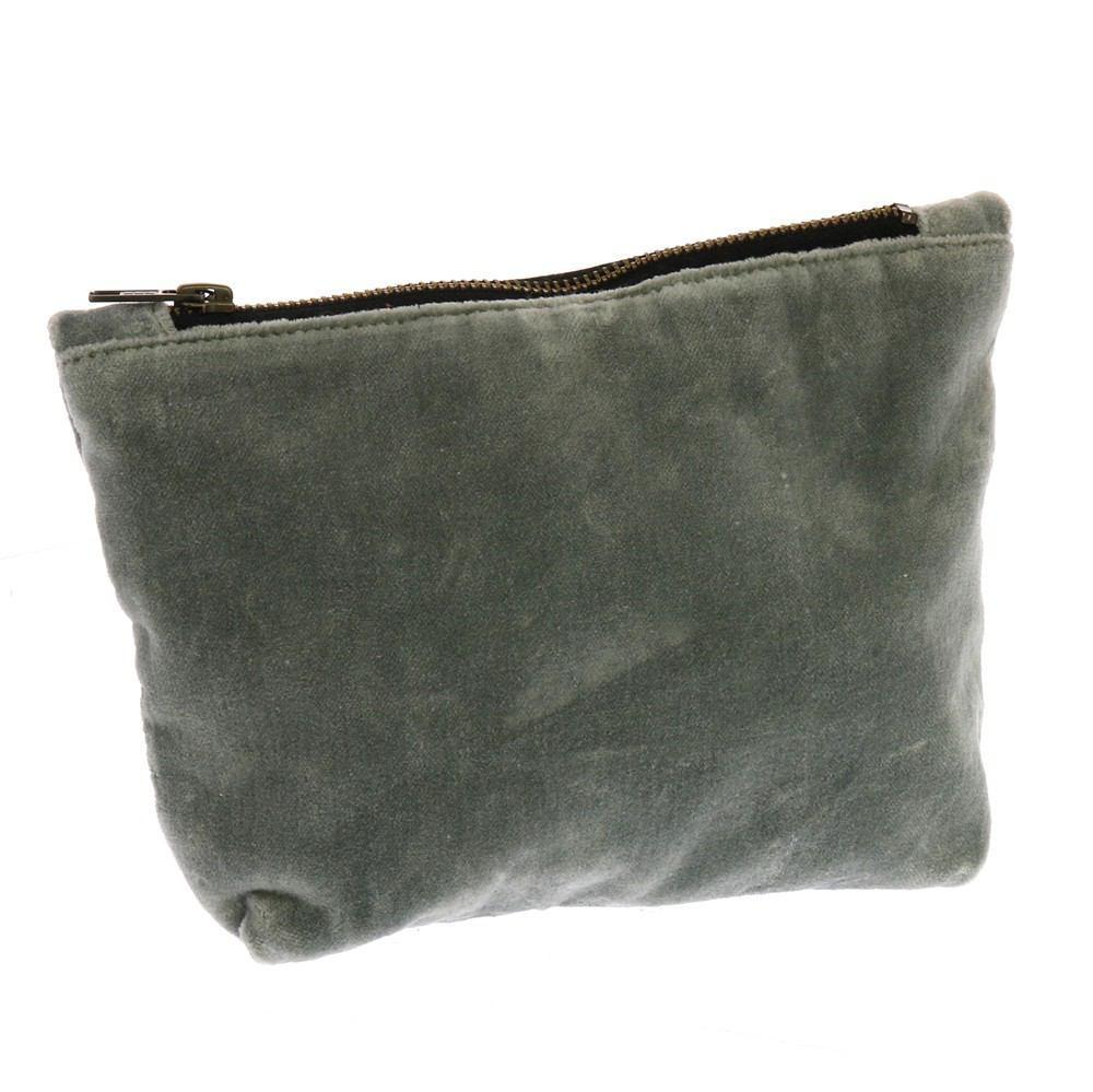 HomArt Velvet Zipper Pouch - Light Grey