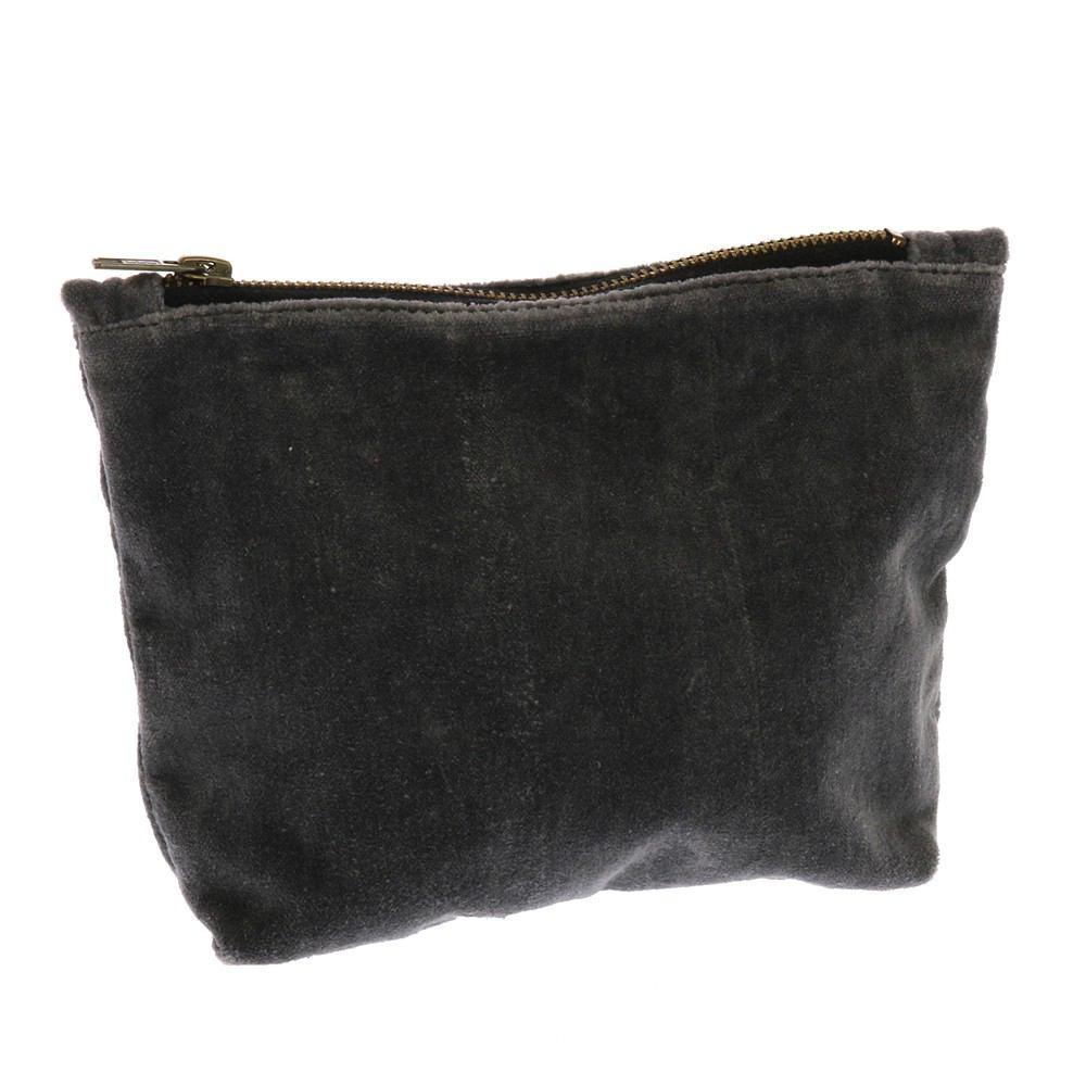 HomArt Velvet Zipper Pouch - Dark Grey