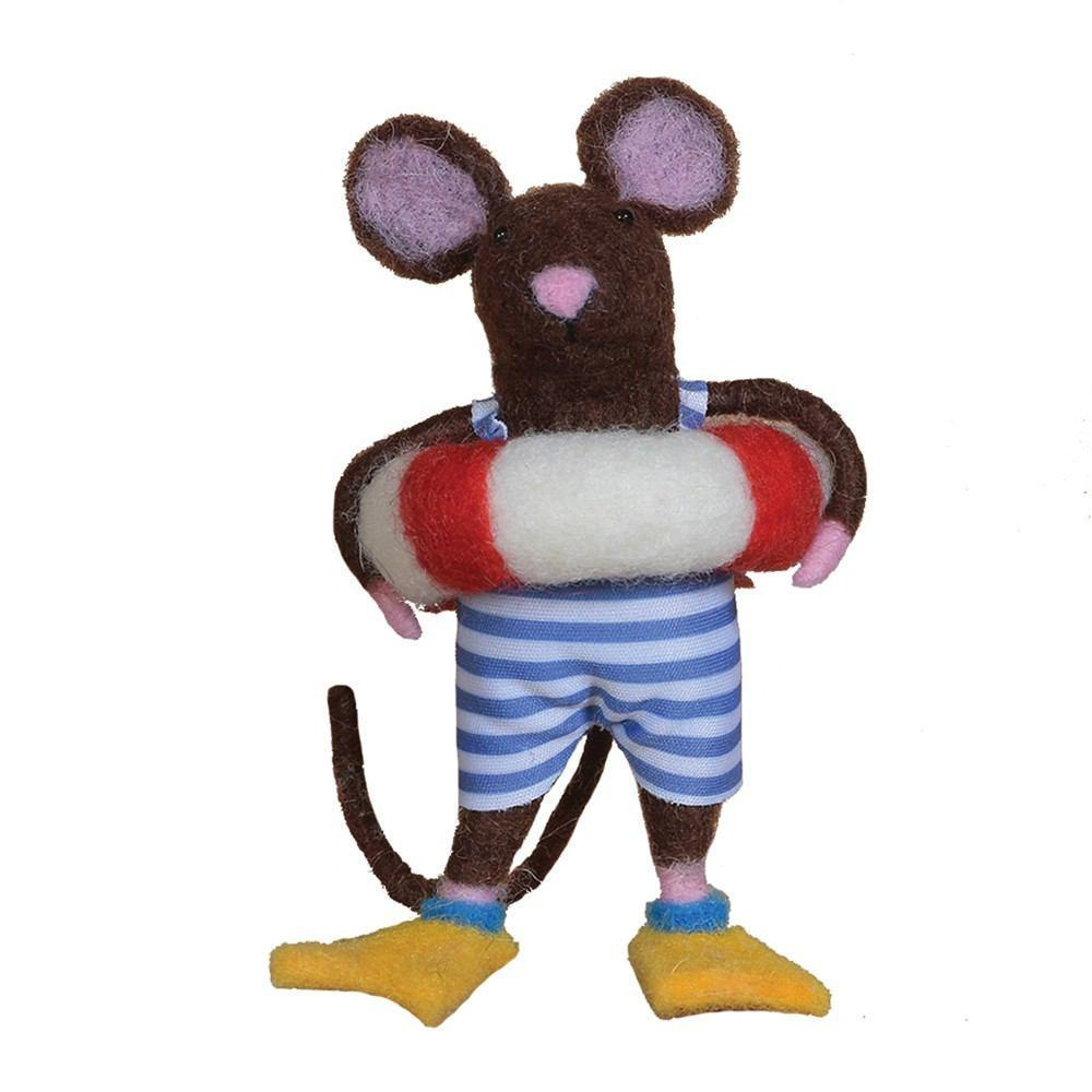 HomArt Felt Swimmer Guy Mouse Ornament - Set of 6