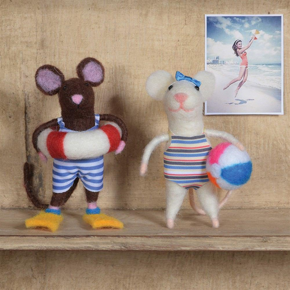 HomArt Felt Swimmer Guy Mouse Ornament - Set of 6 - Feature Image