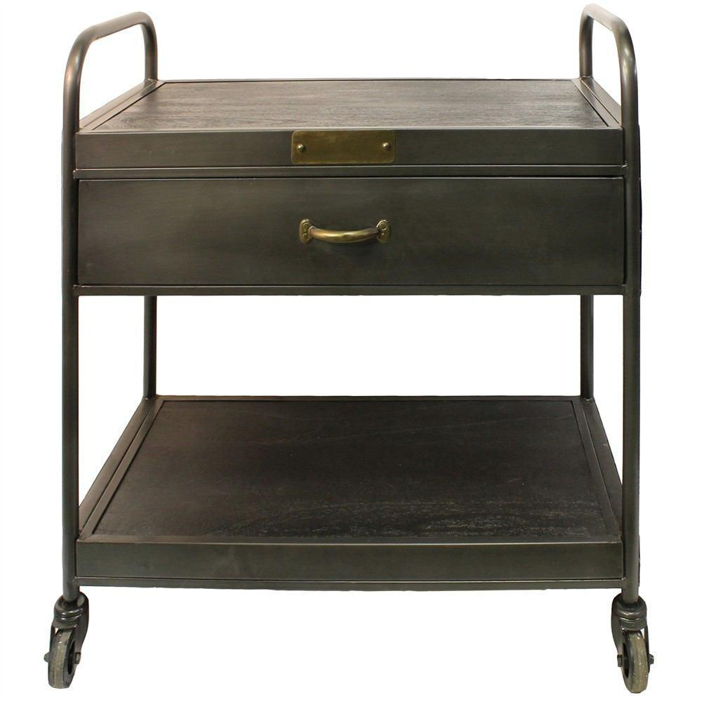 HomArt Leroy Iron and Wood Bar Trolley with Drawer - Manzana Black