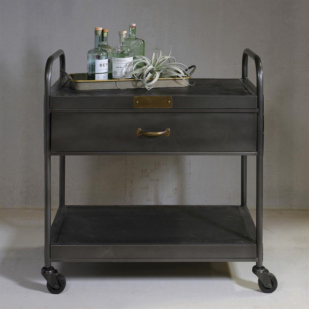 HomArt Leroy Iron and Wood Bar Trolley with Drawer - Manzana Black - Feature Image