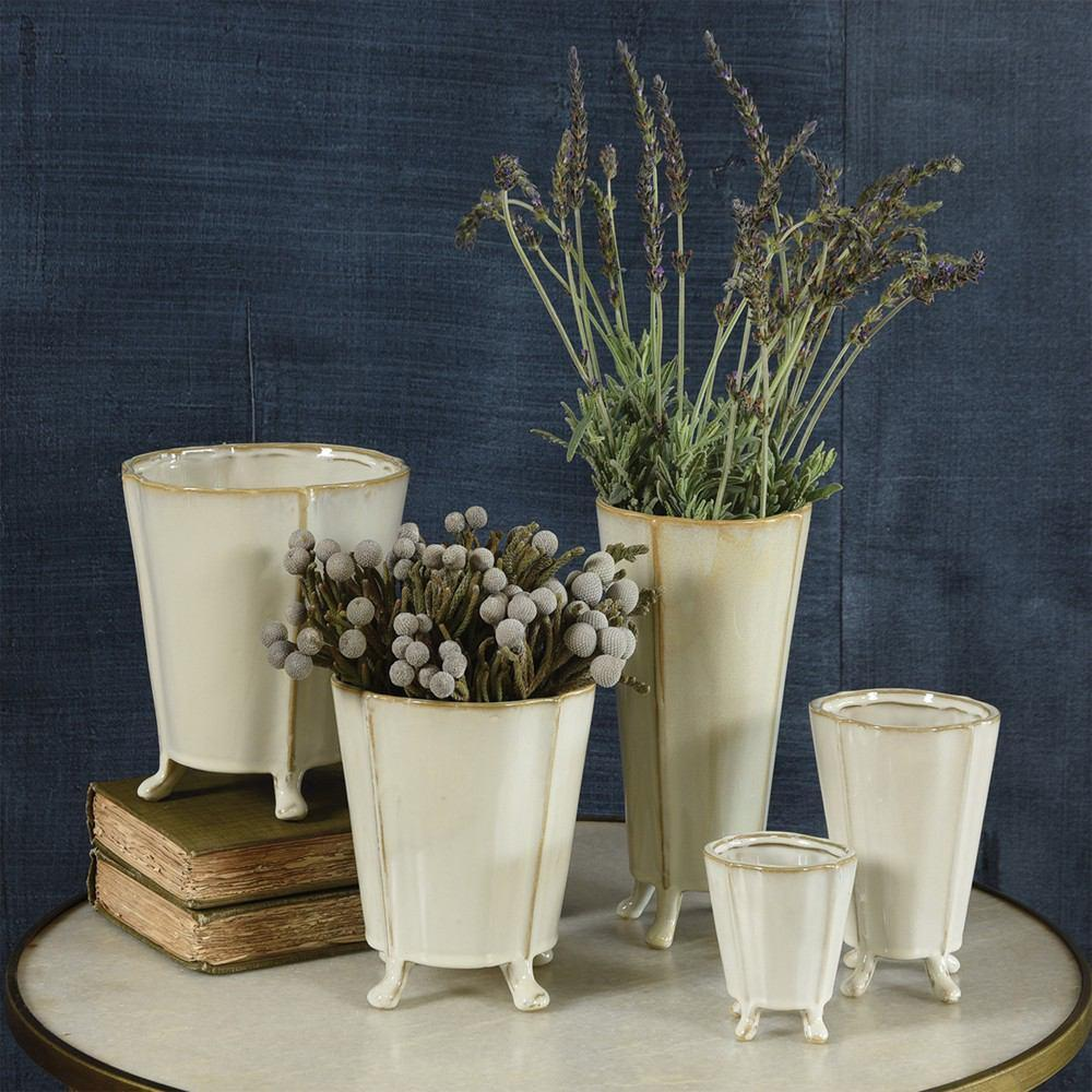 HomArt Rue Footed Ceramic Vase - Fancy White - Set of 8